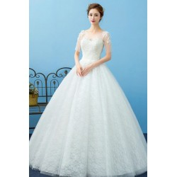 2016 Korean Style New Spring & Summer Sheer Lace Short-Sleeve Wedding Dress