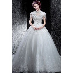2016 Victorian Style Short-Sleeve Wedding Dress