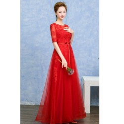 2016 New Summer 3/4 Sleeve Red Evening Dress