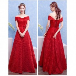 2016 New Spring Red Off-Shoulder Bride Evening Dress