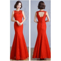 2016 Red Mermaid Bridesmaid Evening Dress