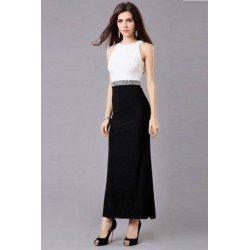 Sleeveless Body-con Long Dress With Stone