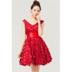 Red V neck fluffy Bridemaid Dress Short Dress
