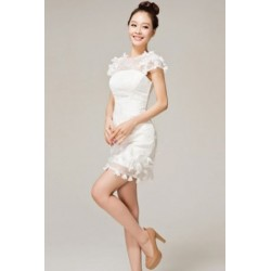 Round Neck Sweet Embroidery Bridemaid Dress Short Dress