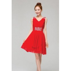 V-Shape Straps Rhinestone Chiffon Bridesmaid Dress