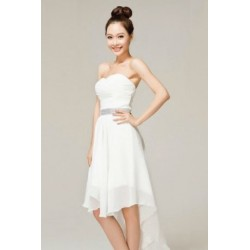 Strapless Ruched Asymmetrical Knee Length Chiffon Bridesmaid Dress