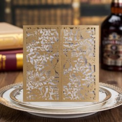 Gold Lace Laser Cut Wedding Invitation Card