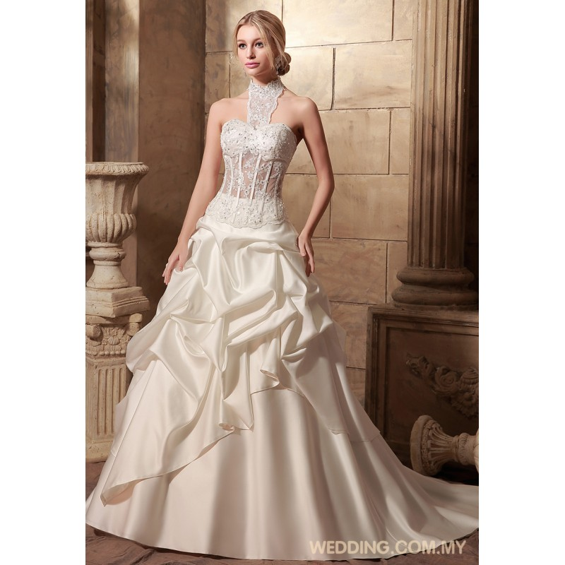 Wedding Dresses With Illusion Bodice : Bubbles satin skirt with illusion bodice wedding gowns