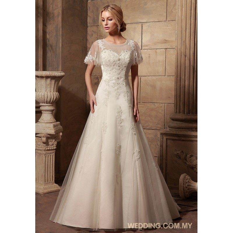 Modest wedding gowns with cap sleeves bridesmaid dresses for Modest wedding dresses for sale