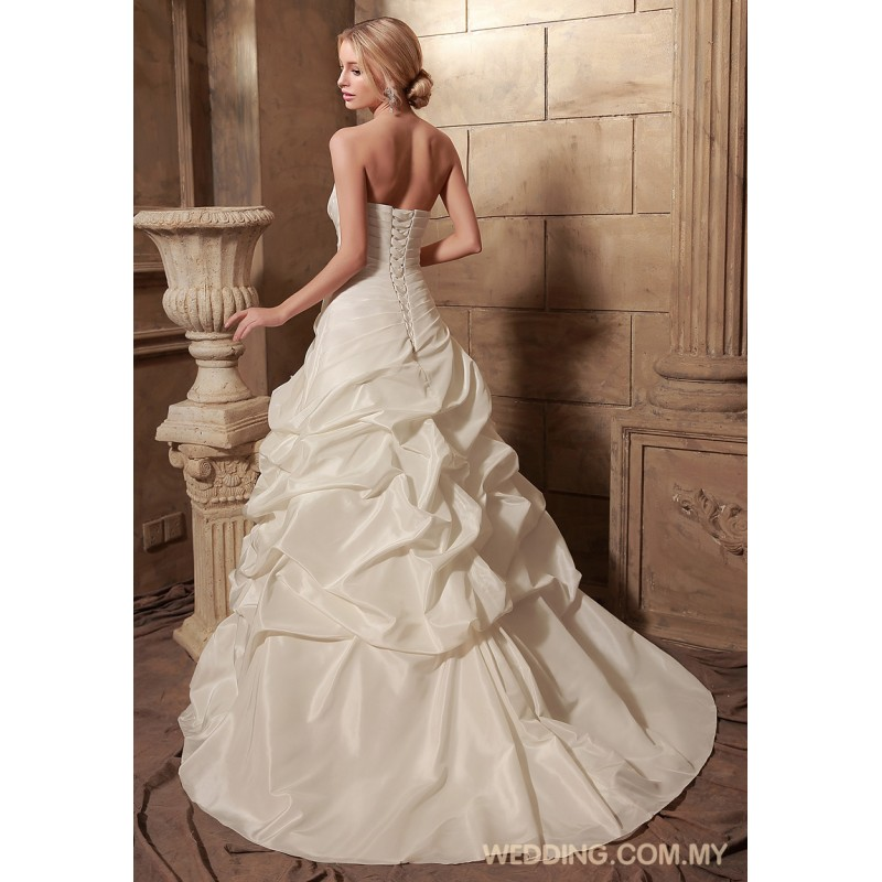Ball gown taffeta wedding gown with pick up skirt for Pick up skirt wedding dresses