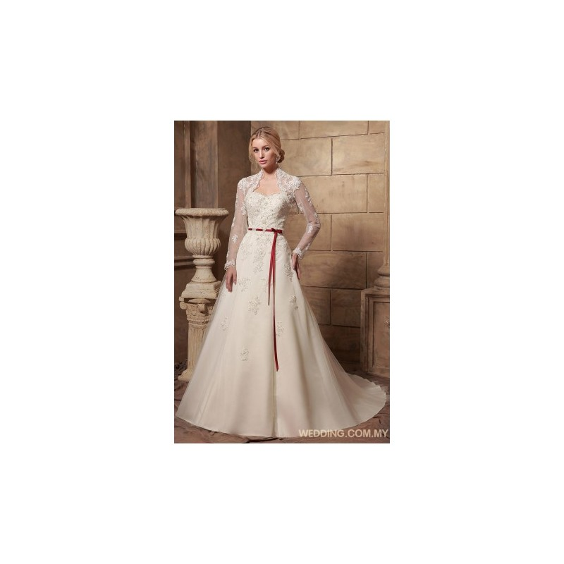 tulle a line wedding dress with jacket and red belt