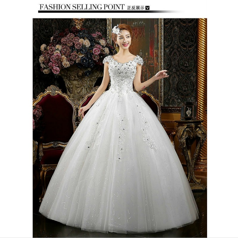 2016 New Summer Korean Style Short Sleeve Wedding Dress Fashion