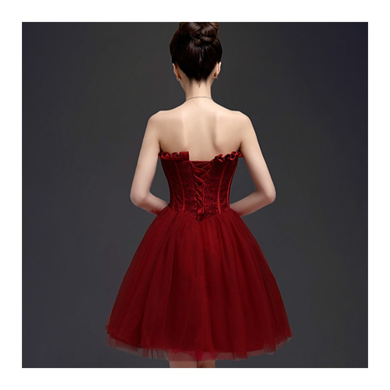 Wedding Dress With Red Corset : New wine red corset bridesmaid dress fashion