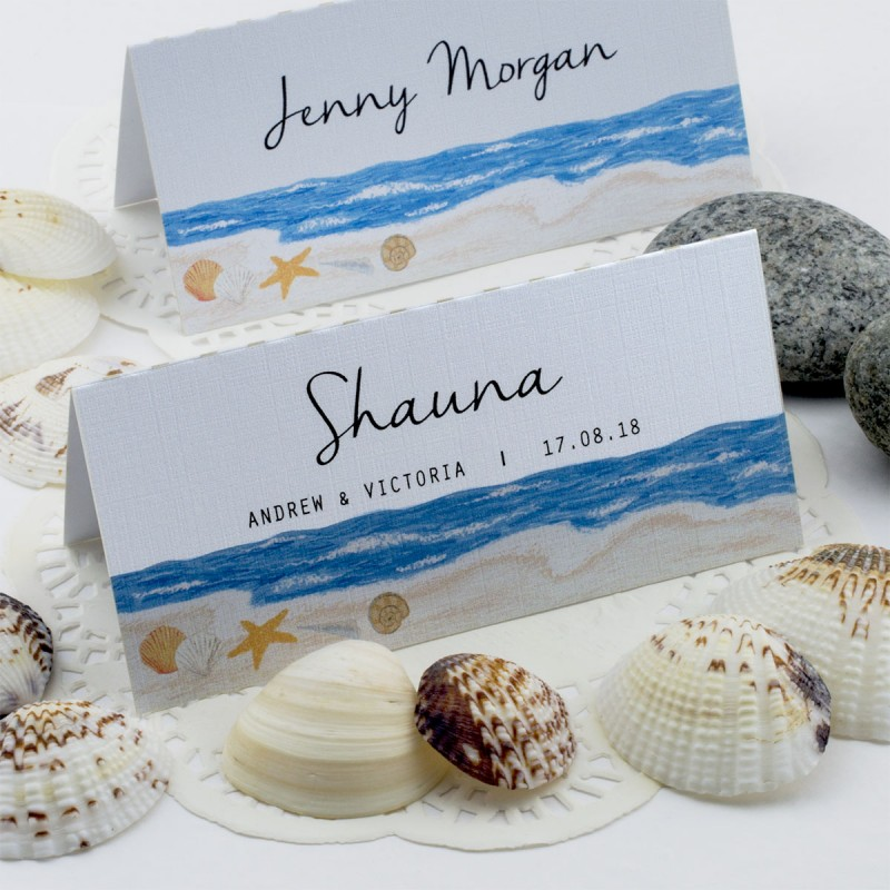 Wedding Gift Card Box Beach Theme : ... Beach Themed Shells by the Sea Wedding Place Cards Gifts & Cards