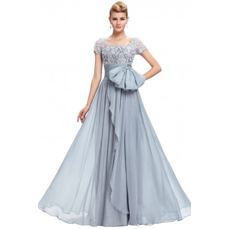 Classic Lace Chiffon Floor Length Grey Evening Gown