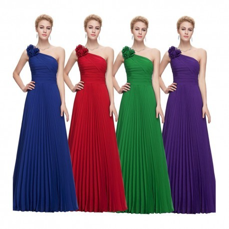 Chiffon Ribbon One Shoulder Floor Length Evening Dress (4 Colors)