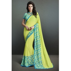 Beautiful Lime Green Color Printed Party Wear Georgette Saree