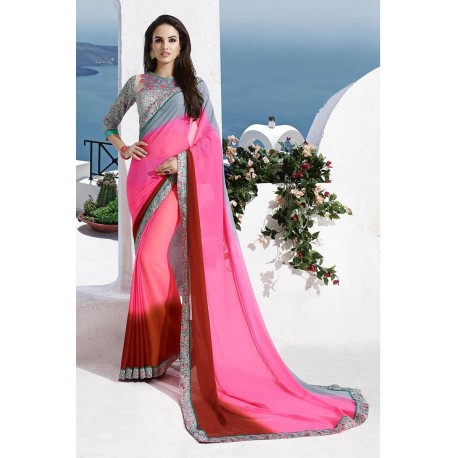 Pink and Red Partywear Georgette Printed Saree With Blouse