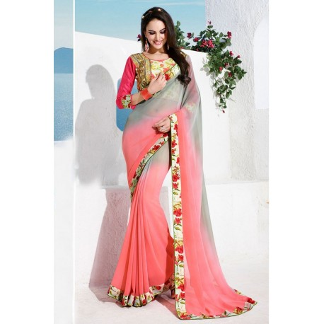 Pink & Grey Georgette Printed Plain Saree With Blouse Piece