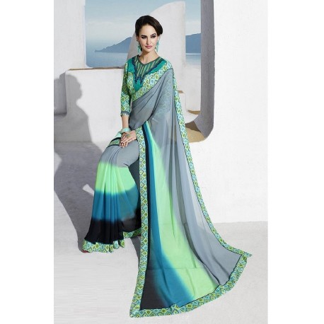 Green & Blue Ombre Georgette Designer Printed Saree