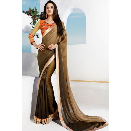 Elegant Golden Brown Partywear Georgette Printed Saree With Blouse