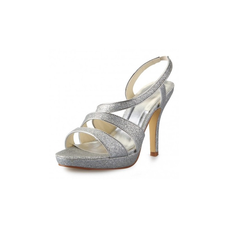 Glitter Open Toe Wedding Shoes