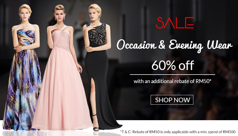 60% Discount OFF all Dresses + RM50 rebate on RM500